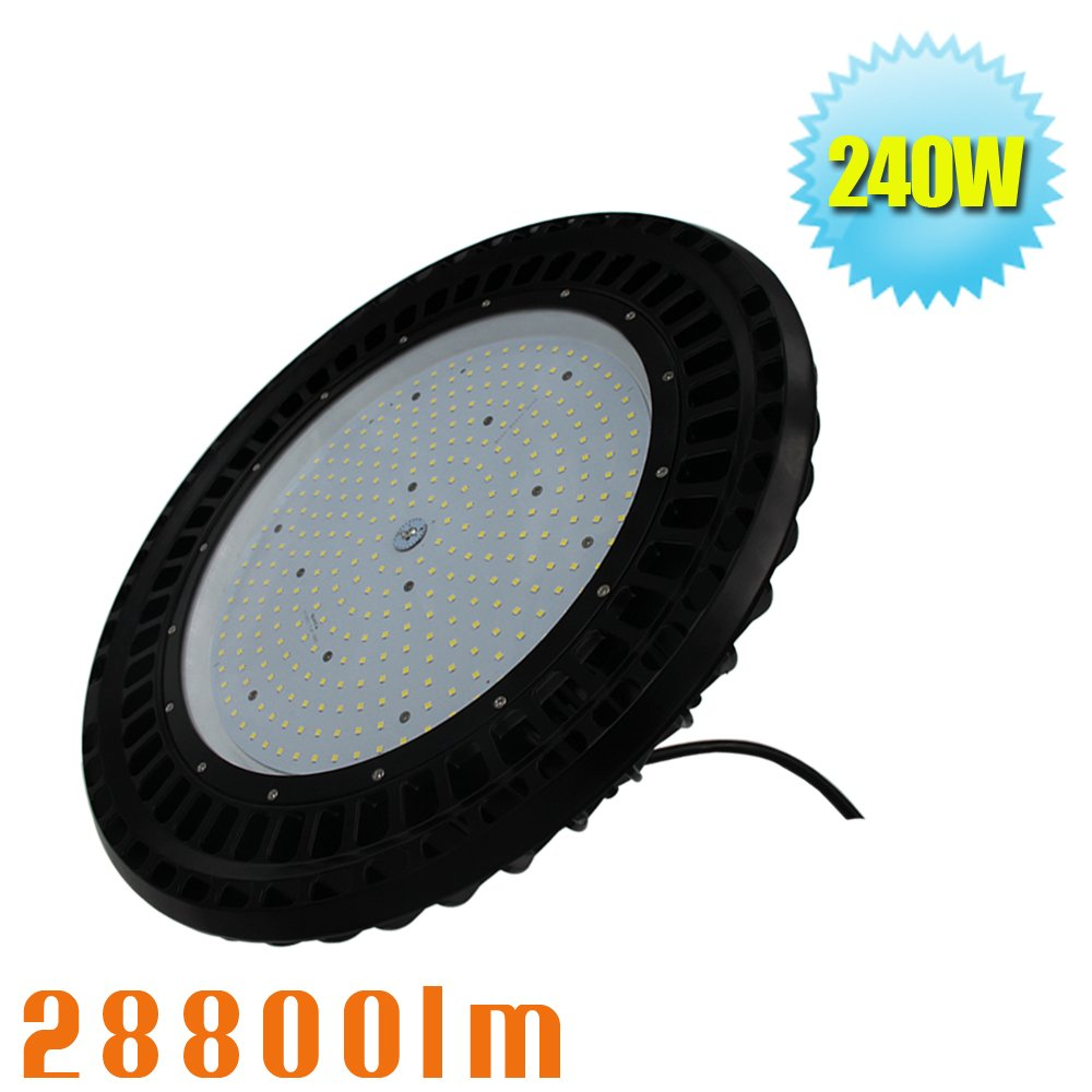 Caree-LED 240W UFO LED High Bay Lighting,1000W HPS/MH Bulbs Equivalent,24000lm,Waterproof,Daylight,5700K,Super Bright LED High Bay Lights for Warehouse Workshop Factory