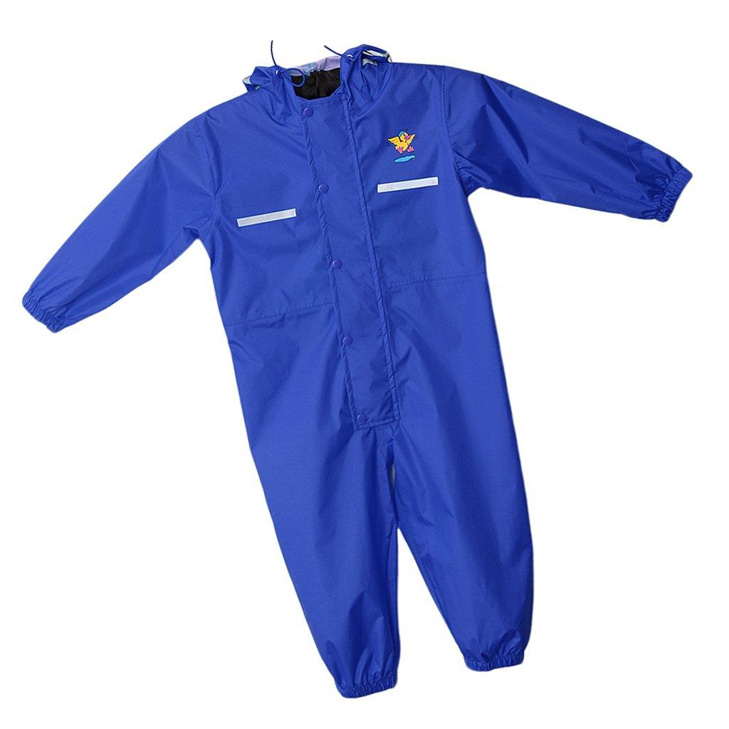 Prettyia Colourful Kids Raincoat Reusable Rainwear Elastic Adjustable Cuffs Rain Poncho - Blue, M by Prettyia