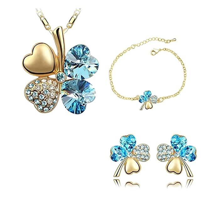 ZIZI Lapis Blue ~ Love Heart Lucky Four Leaf Clover ~ Necklace & Heart Earring Set ~ 18K White Gold Plated ~ Swarovski Crystal Elements GH0tR