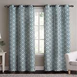 Alexander Blue Top Grommet Woven Blackout Window Curtain Panels, Pair / Set of 2 Panels, 38×96 inches Each, by Royal Hotel Review