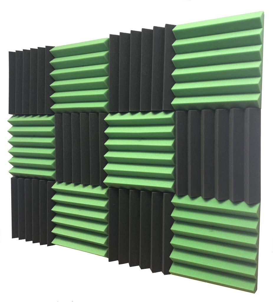 "2"" x 12"" x 12"" GREEN/CHARCOAL Black Acoustic Wedge Panels Studio Soundproofing Foam 12 Pack"