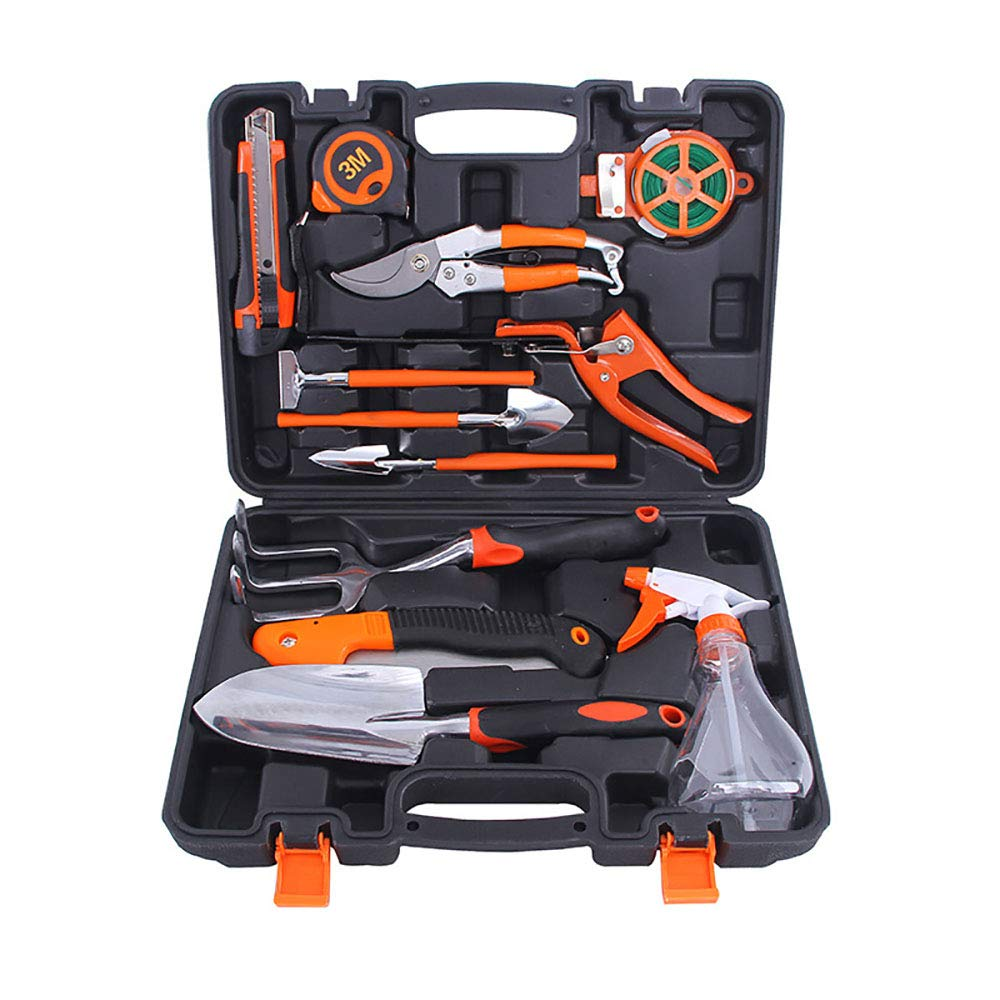 XBRガーデンツールセット、ガーデニングツールセット剪定ばさみ、ミニピンセット、サイズシャベル、噴霧器、くすぐり、ハサミや他の庭師を含むスーツケース付きステンレススチールガーデンツールの12枚セット B07S9F6686