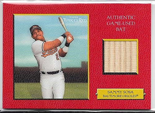 (2005 Topps Turkey Red Baseball Sammy Sosa Red Parallel Game Used Bat Card #56/99)