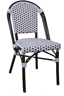 Wonderful Table In A Bag CBCWR Faux Bamboo All Weather Wicker Stackable Bistro Chair,  White