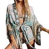 BURFLY ミミ Feitong Women Floral Bohemian Chiffon Beach Kimono Cardigans Blouse Cover Ups