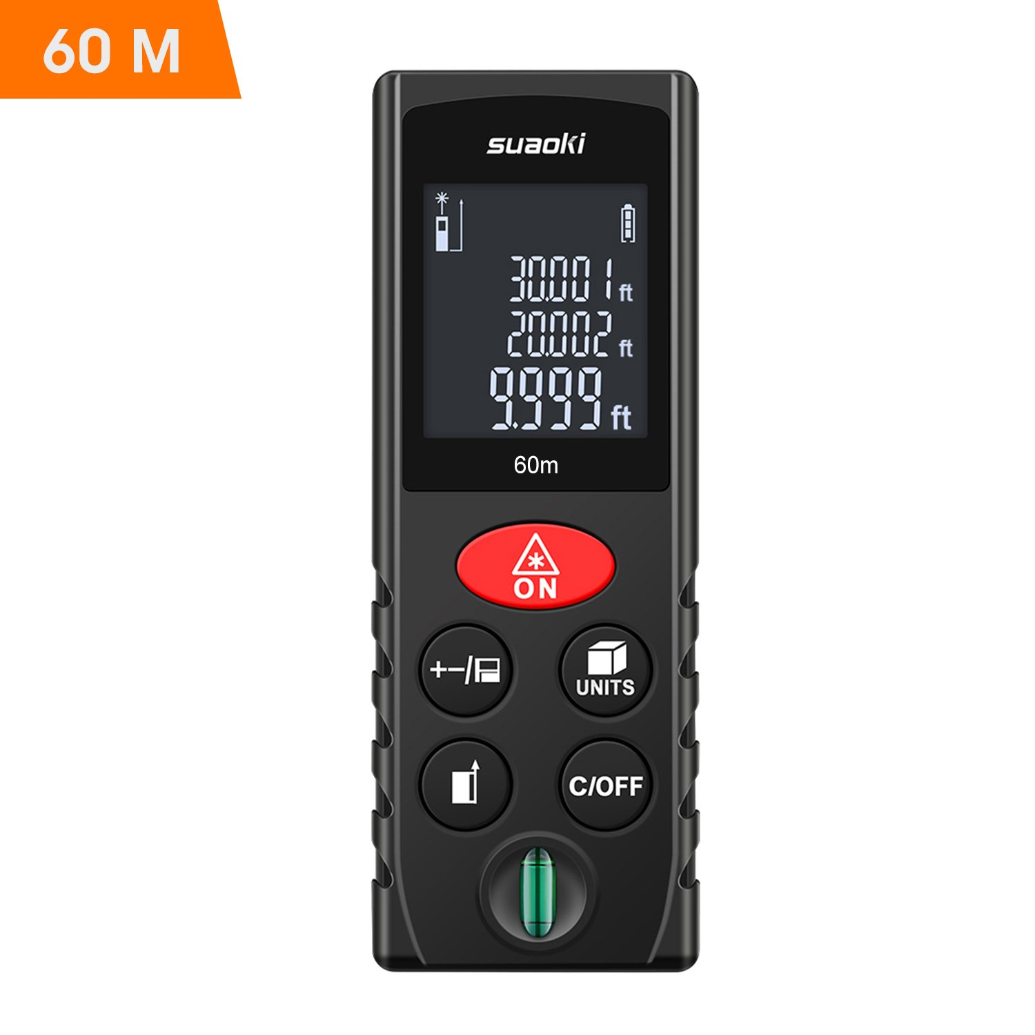 Suaoki Laser Measure 197Ft with Multi Function Laser Measuring Device with Bubble Level, Pythagorean Mode, Area and Volume Calculation - Battery Included