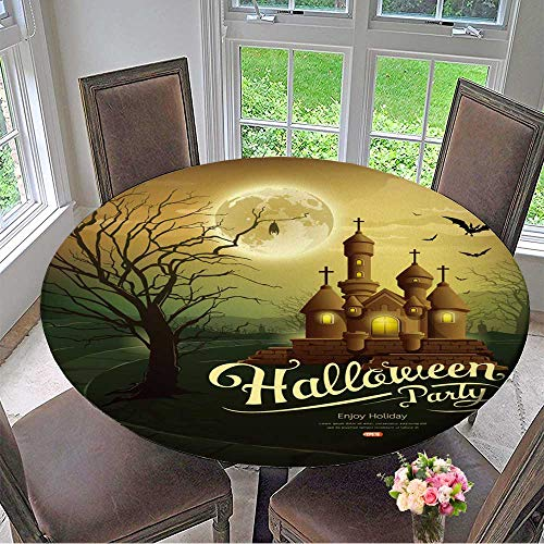 Mikihome Round Tablecloths Happy Halloween Party Castles with Message,bat,Silhouette Tree,Moon or Everyday Dinner, Parties 35.5