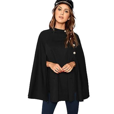 MAKEMECHIC Women's Double Button Cloak Sleeve Elegant Cape Mock Poncho Classy Coat: Clothing