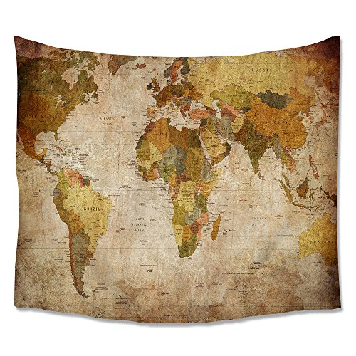 Home Antique Map of the World Wall Tapestry Hanging – Light-weight Polyester Fabric Wall Decor (Antique Map) Antique Tapestry Fabric