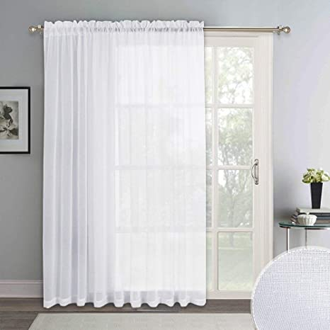 ryb home extra wide 100 inch linen look white sheer curtain set window voile drapery disperse sunlight glare for living room patio door sunroom