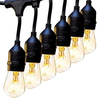 2 Pack 48 FT Outdoor String Lights Commercial Great Weatherproof Strand Edison Vintage Bulbs 15 Hanging Sockets, UL Listed Heavy-Duty Decorative Café Patio Lights for Bistro Garden