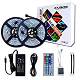 RoLightic Led Strip Lights Kit Waterproof SMD 5050 32.8 Ft (10M) 300LEDs RGB Light Strip with 44key IR Controller and 12V 5A Power Supply for Indoor Home Kitchen Bedroom Cabinet Background