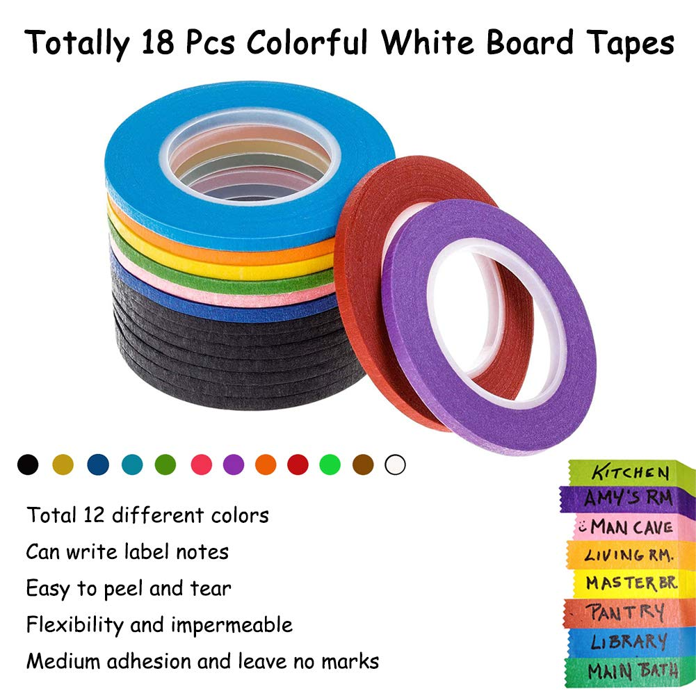 Art 236 Yards Total 12 Colors 18 Rolls 1//4 Whiteboard Thin Tape Pinstripe Art Tape Dry Erase Board Grid Tape Lines Pinstriping Electrical Colored Marking Tape for DIY Coding and Labeling