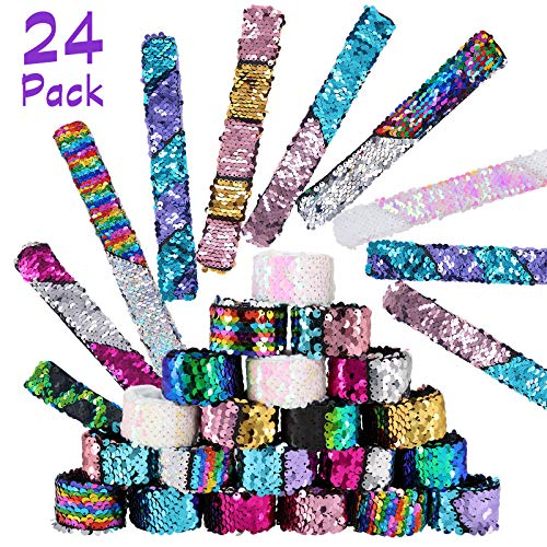 Pawliss 24 Pack Little Mermaid Magic Charm Reversible Sequin Slap Bracelets, Birthday Party Favors Supplies Gifts for Girls Kids, Pink Blue Purple -