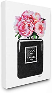 Stupell Industries Glam Perfume Bottle w/Peony Stretched Canvas Wall Art 30 x 40