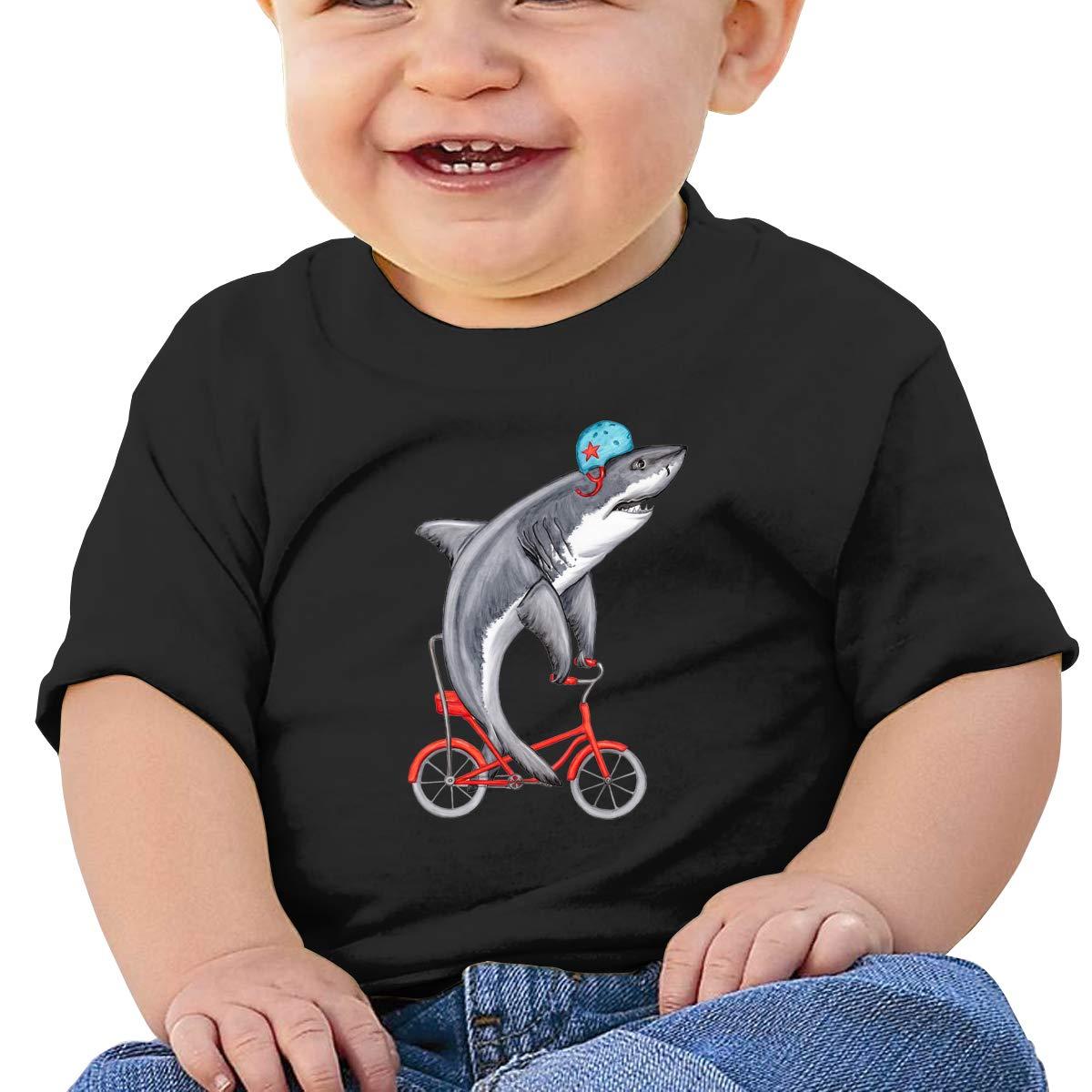 AiguanCute Shark On Bike Toddler//Infant Short Sleeve Cotton T Shirts Black