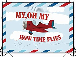 7x5ft Birthday Backdrop Vintage Aircraft Banner Background Kids Cartoon Plane Model Time Flies Grunge Sky Cloudscape Portrait Vinyl Prop Studio Wallpaper W-1983