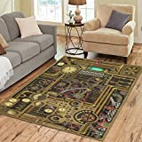 InterestPrint Retro Vintage Steampunk Area Rug Floor Mat 7′ x 5′ Feet, Heavy Metal Clocks Dials Mechanical Gears Throw Rayon Fiber Carpet Rugs for Home Living Dining Room Decoration