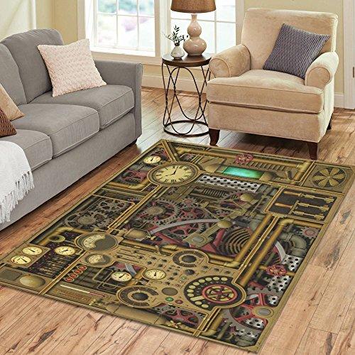 InterestPrint Retro Vintage Steampunk Area Rug Floor Mat 7u0027 X 5u0027 Feet,  Heavy Metal Clocks Dials Mechanical Gears Throw Rayon Fiber Carpet Rugs For  Home ...