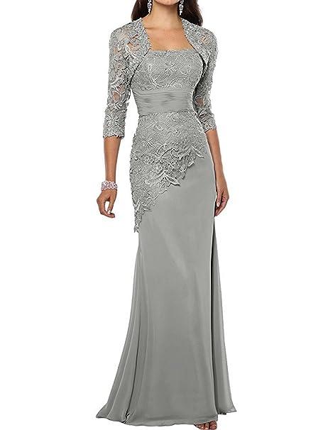 332f00fab13e JAEDEN Vestito da Sera con Giacca Lungo Sirena Vestito per la Madre della  Sposa Chiffon Pizzo  Amazon.it  Abbigliamento