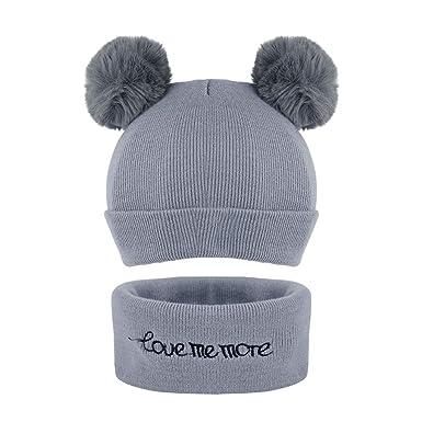30f0b609e3bc Set de Bonnet Echarpe Enfant Hiver Chapeau + Cercle Tour Cou Tricot Snood  Enfant Hiver Chapeau
