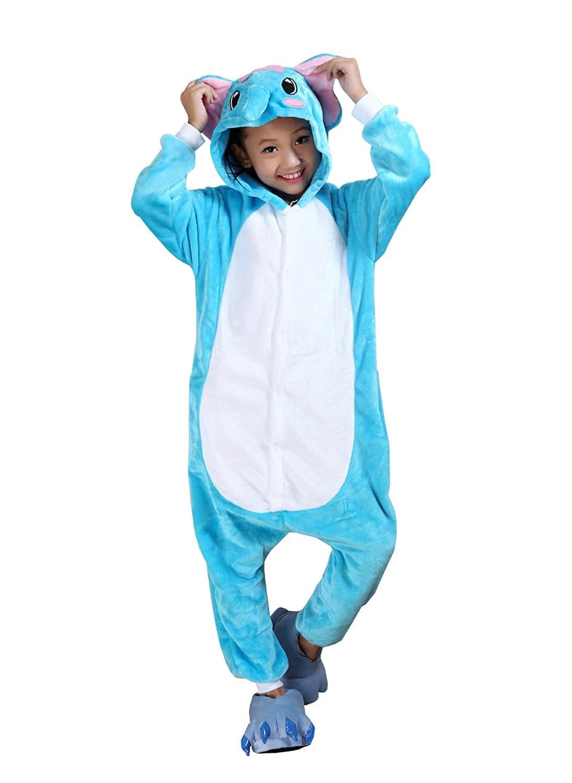 Pigiama Intero Animali Pigiami Interi Costumi Cosplay Elephant Blu Camicie da notte Sleepwear Con Cappuccio Caldo Anime Maglie Pigiama Adorabile Bambini 3-8 Anni tempo libero