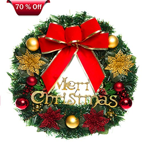 Christmas Wreath, Christmas Wreaths for Front Door, Outdoor Hanger Decorative Garland with Tinkle Bell Bowknot and Small Ornaments, Xmas Wreaths for Front Door, Xmas Wreaths Outdoor (Color2, 12'') (Xmas Wreaths)
