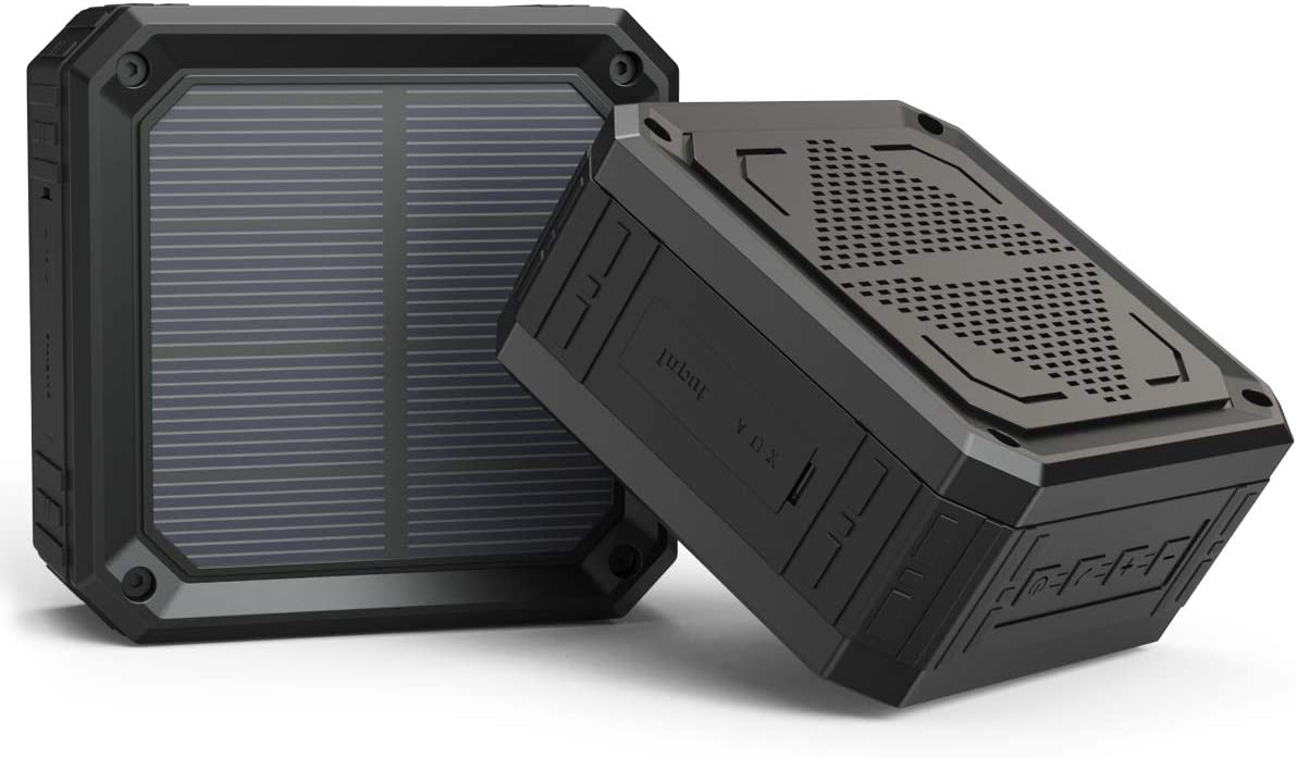Solar Speaker ABFOCE Portable Bluetooth Speaker Waterproof 15 Hours of Playtime Rich Stereo Bass Shockproof Dustproof for Home and Outdoor Wireless Speaker-Back