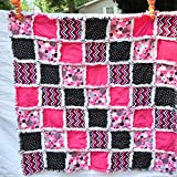 Baby girl rag quilt pink black white newborn baby shower gift pregnancy gift