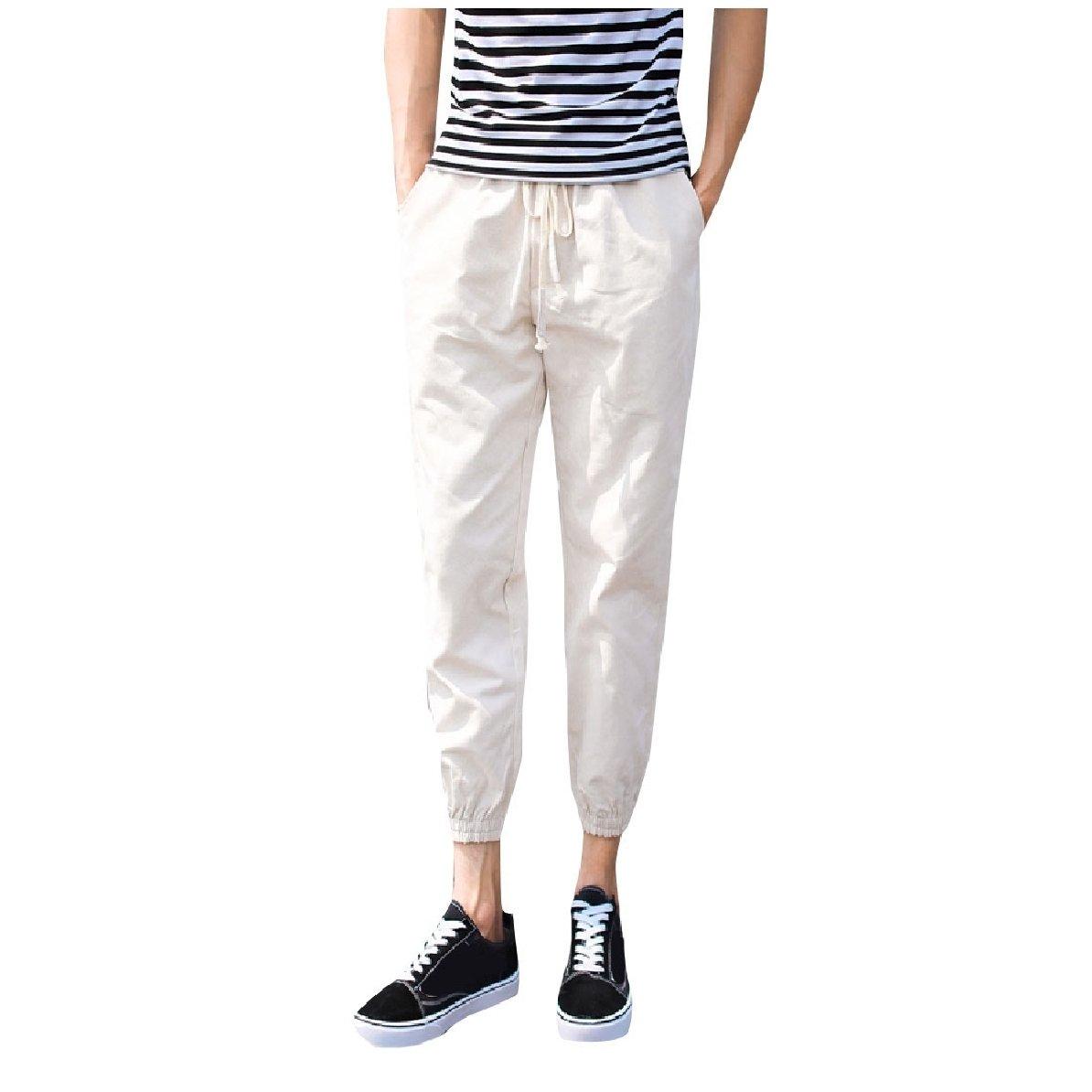 YUNY Men Elastic Waist Beam Foot Trousers Tenths Pants Beige S