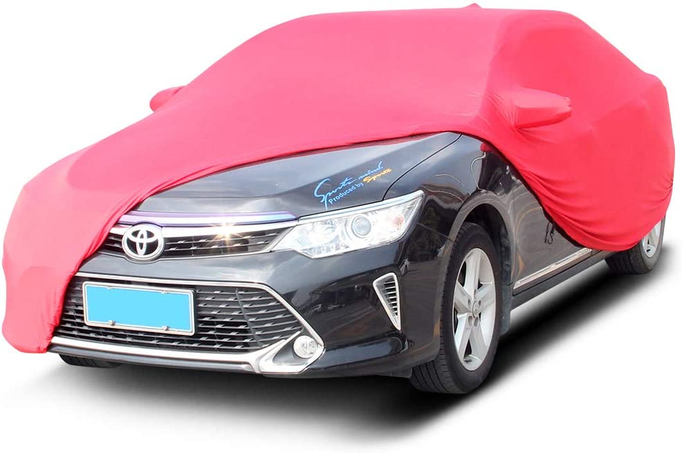 SLanguage Indoor Car Cover Velvet Stretch Dust-Proof Protection Full Car Cover for Underground Garage Red 4.6-4.9m Car Show