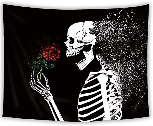 SVBright Funny Skeleton Tapestry 51Hx59W Inch Hippie Skull Red Rose Sugar Black White Art Wall Hanging Bedroom Living Room Dorm Decor Fabric