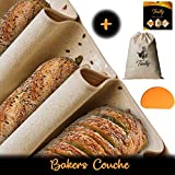 Bakers Couche Proofing Cloth Set - Professional, Natural Cotton Canvas 35'x26' for Loaves Baguettes with Dough Scraper and Bread Storage Bag - Bread Baking Equipment for Artisan Bakers or Homemade Use