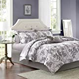 Madison Park Essentials Shelby Comforter Set Cal King Size Bed in A Bag - Purple, Floral - 9 Piece Bed Sets - Ultra Soft Microfiber Teen Bedding for Girls Bedroom