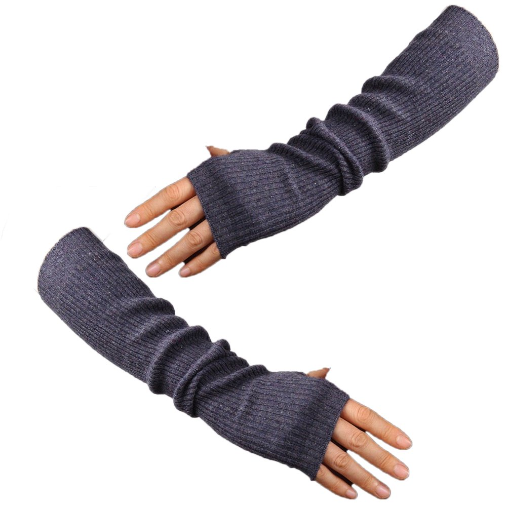 Cashmere Wool Fingerless Gloves Half Finger Arm Warmer Grey Gray Elbow Long