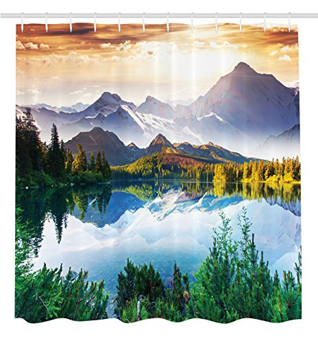 Mountain Bathroom Tub (Ambesonne Scenic Decor Collection, Mountain Lake View Sunny Day Nature Picture Art Paintings Effect Print, Polyester Fabric Bathroom Shower Curtain Set with Hooks, Green/Blue/Brown)