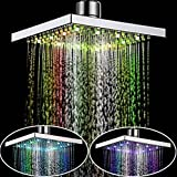 8'' Inch Square Chrome Face Rainfall LED Shower Head 7 Colors Changing Romantic Light Home Bathroom Top Shower Head