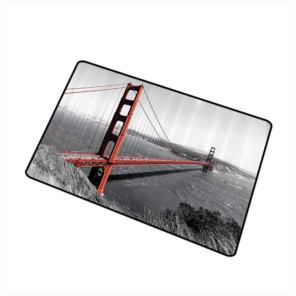 Jbgzzm Fashion Door mat Apartment Decor Collection Golden Gate Bridge Civil Engineering History Monochromatic Travel Destinations View W30 xL39 Machine wash/Non-Slip Dimgray by Jbgzzm