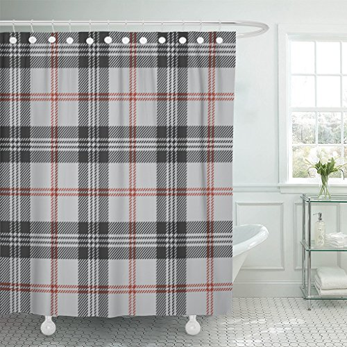 (Emvency Shower Curtain Red Tartan Plaid Black Pattern Scottish Traditional Abstract Waterproof Polyester Fabric 72 x 72 Inches Set with Hooks)