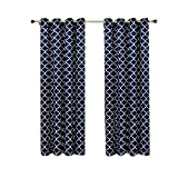 Meridian Navy Grommet Room Darkening Window Curtain Panels, Pair / Set of 2 Panels, 52x108 inches Each, by Royal Hotel