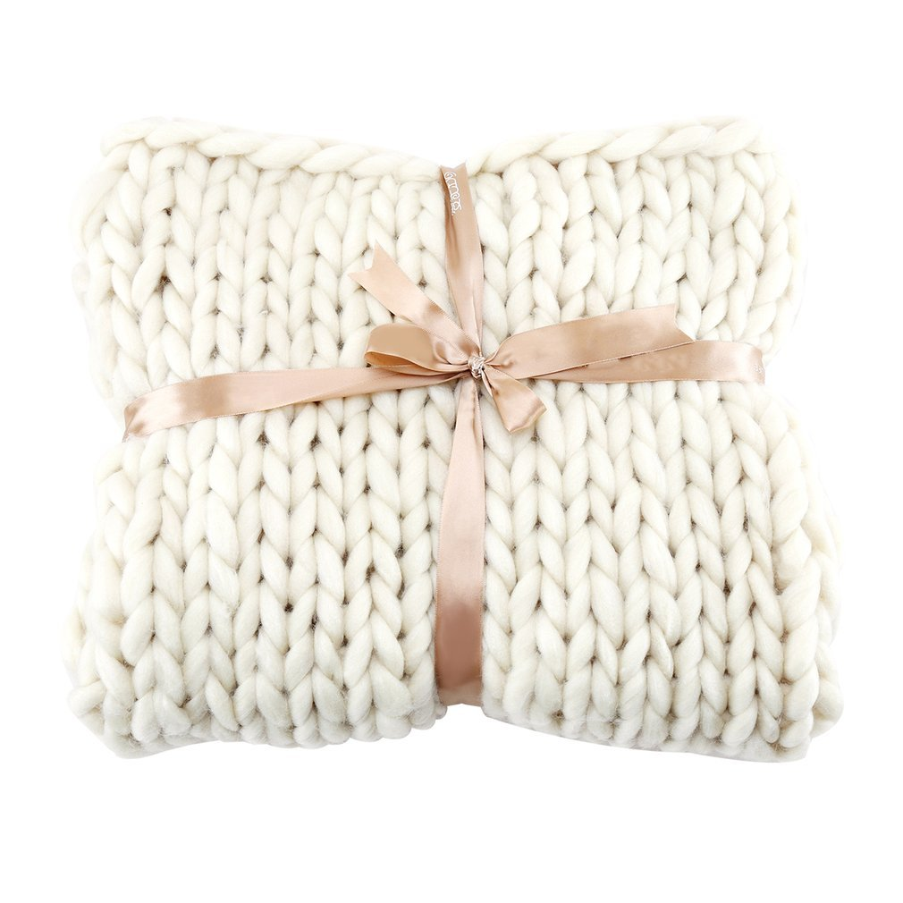 Hand Made Thick Knitting Line Braided Carpet Bedroom Rug Kids Soft Nap Blanket(Color:Beige)(Size:100x120cm) Foreverharbor