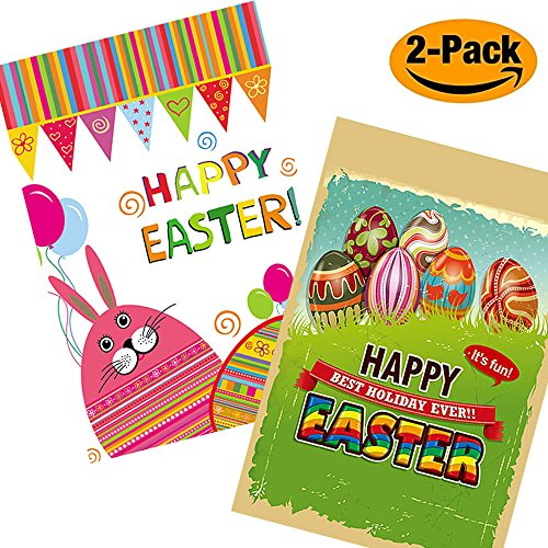 Easter Rabbit Clipart (Shmbada Seasonal Home Happy Easter Garden Flags Outdoor Yard Lawn Decoration Background Holiday Egg and Bunny Flags 12X18 Inches 2 Pack(Easter))