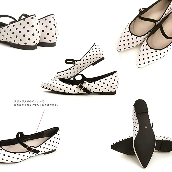 8fcc364da2b7 Amazon | [シン ケン] 人気 ブランド レディース フラットシューズ 簡約 復古 上履き 大人 女の子 レトロ 水玉 みずたま カジュアル  単靴 4色展開 | バレエシューズ