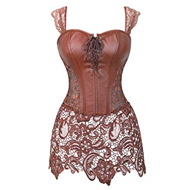 508746bdce9 Grebrafan Steampunk Faux Leather Bustier Corset with Lace Skirt (US(4-6)