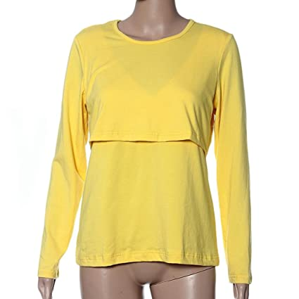 saihui embarazadas ropa de maternidad lactancia Tops de lactancia camiseta de manga larga amarillo amarillo Talla