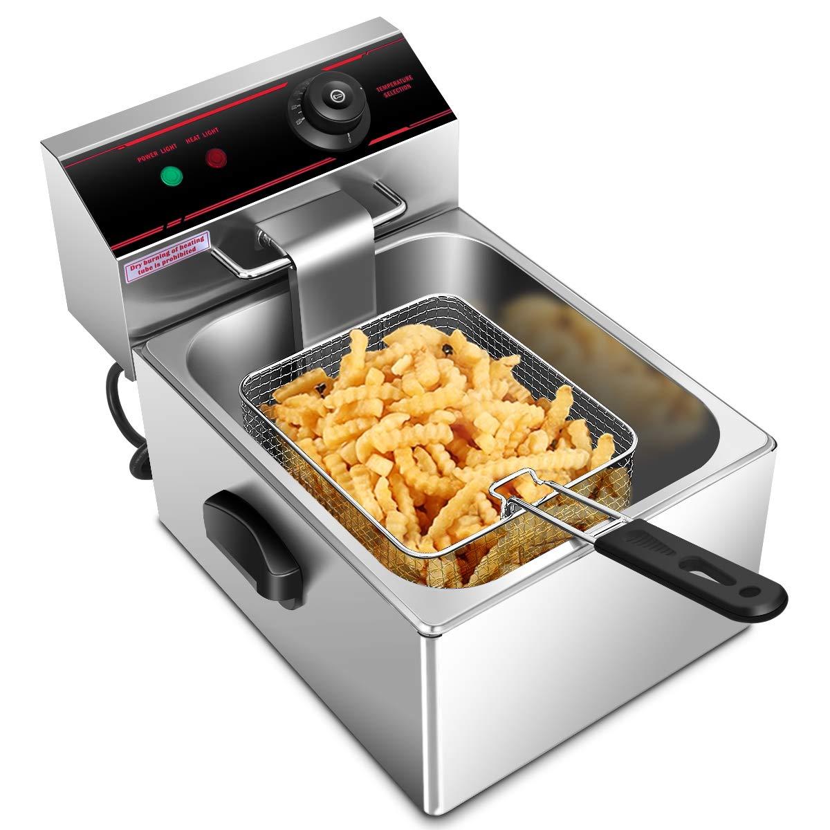Giantex 2500w Deep Fryer Electric Commercial Countertop Fryer Restaurant Kitchen Frying 6L Single Tank w/Fryer Basket Scoop Professional Grade