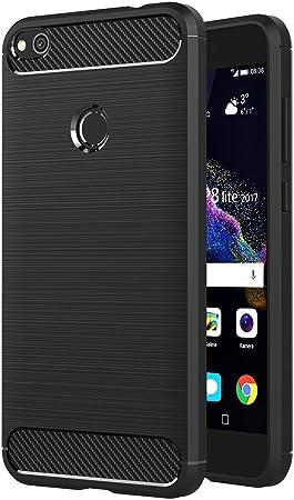 AICEK Cover Huawei P8 Lite 2017, Nero Custodia P8 Lite 2017 Silicone Molle Black Cover per Huawei P8 Lite 2017 Soft TPU Case 5.2 Pollici