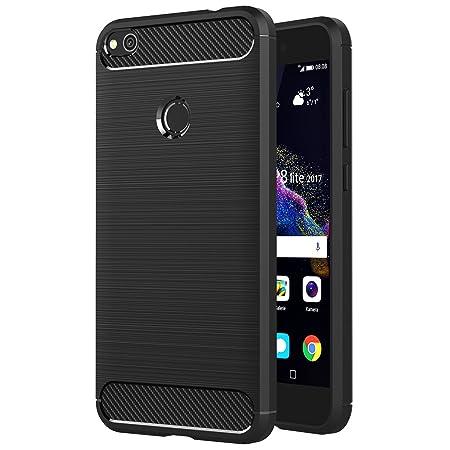 AICEK Huawei P8 Lite 2017 Hülle, Schwarz Silikon Handyhülle für Huawei P8 Lite 2017 Schutzhülle (5,2 Zoll) Karbon Optik Soft