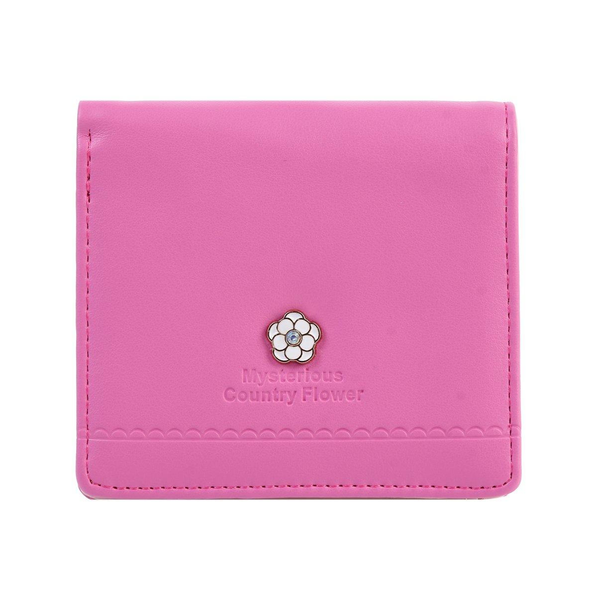 Damara ガールズ 花柄 財布 お札入れ カードケース 小型  レッド B018S2XJL8