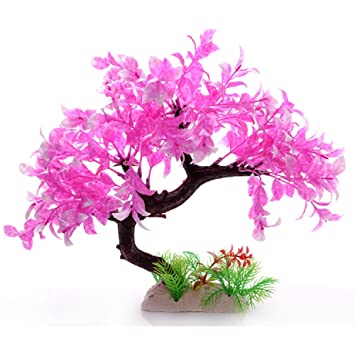 JUZIPI Decoración para Acuario con árbol Rosa Acuario y Plantas, Decoración para pecera y pecera